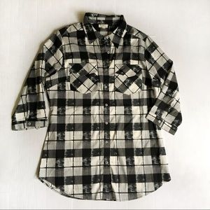 Black and cream check light weight button down